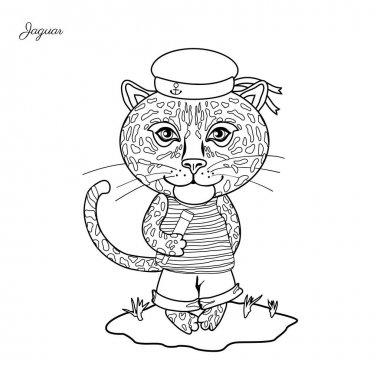 Jaguar sailor in cap with spyglass on grass isolated on white background, Vector cartoon cute illustration, line art, Character design for greeting card, children invitation, element pattern wallpaper
