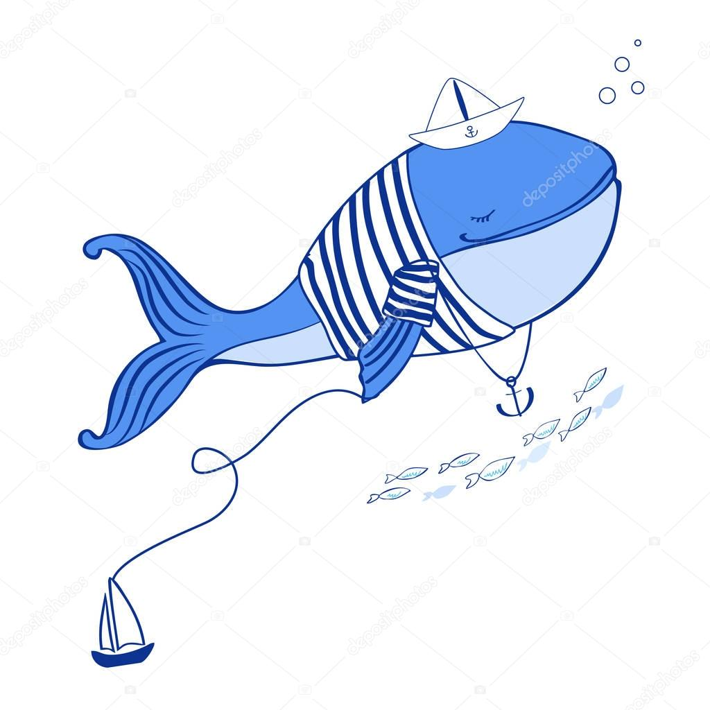 Blue Whale in jacket vest with paper boat and anchor cartoon illustration isolated on white background, vector doodle wild animal, fish line art, Character design for travel card, children invitation