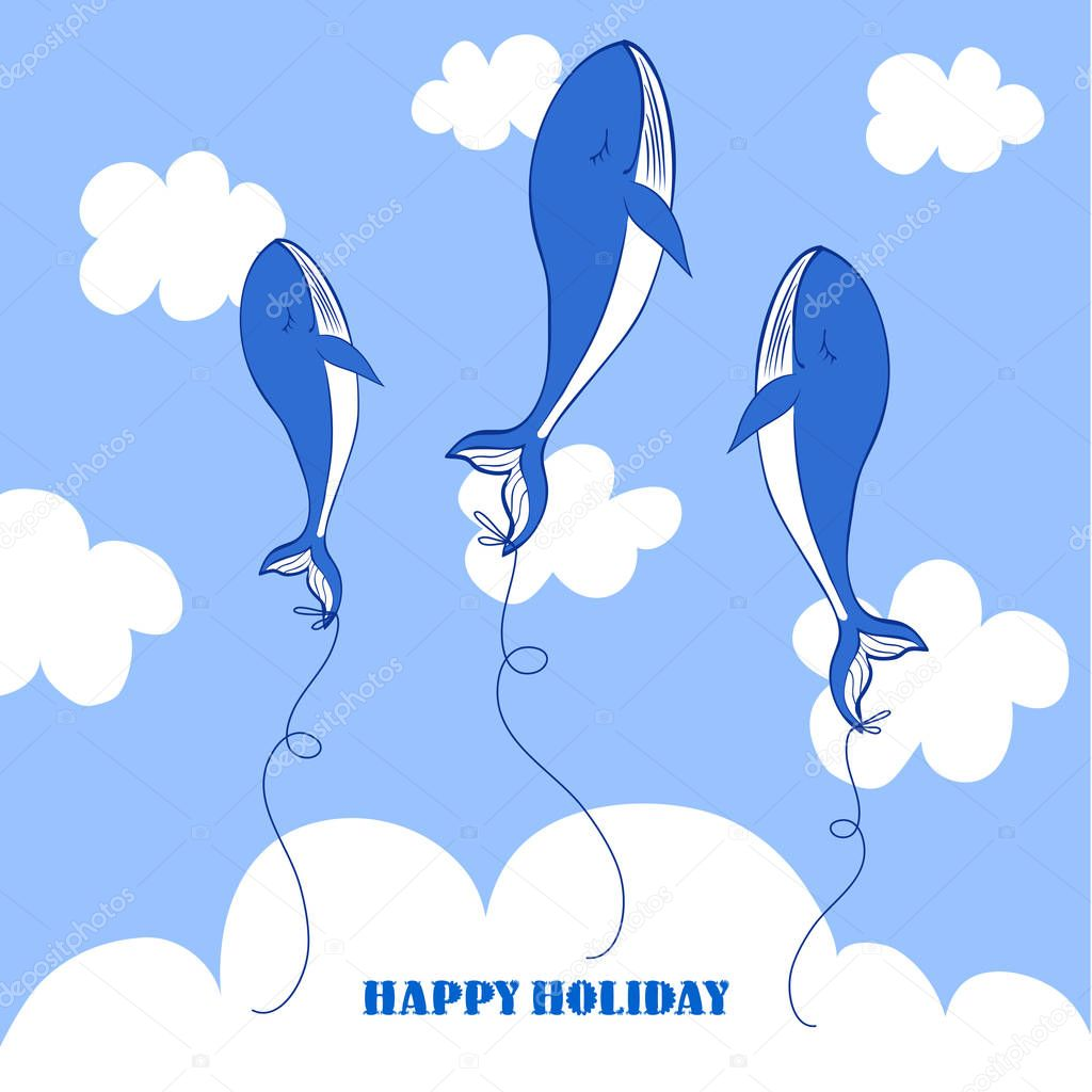 Blue Whale cartoon illustration isolated on blue sky background, balloon in clouds, vector colorful doodle animal, Character design for greeting card, children invitation, baby shower, holiday frame