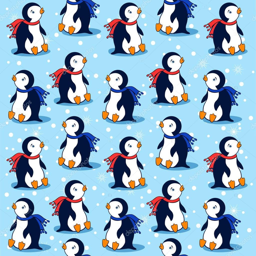 Cartoon penguin on blue background with snowflakes, vector seamless pattern, decorative texture, cheerful wallpaper, colorful ornament, Character design for greeting card, children invite, baby shower