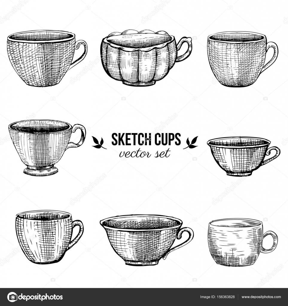 Vector dibujado mano sketch tazas aisladas sobre fondo for Tazas de te estilo vintage