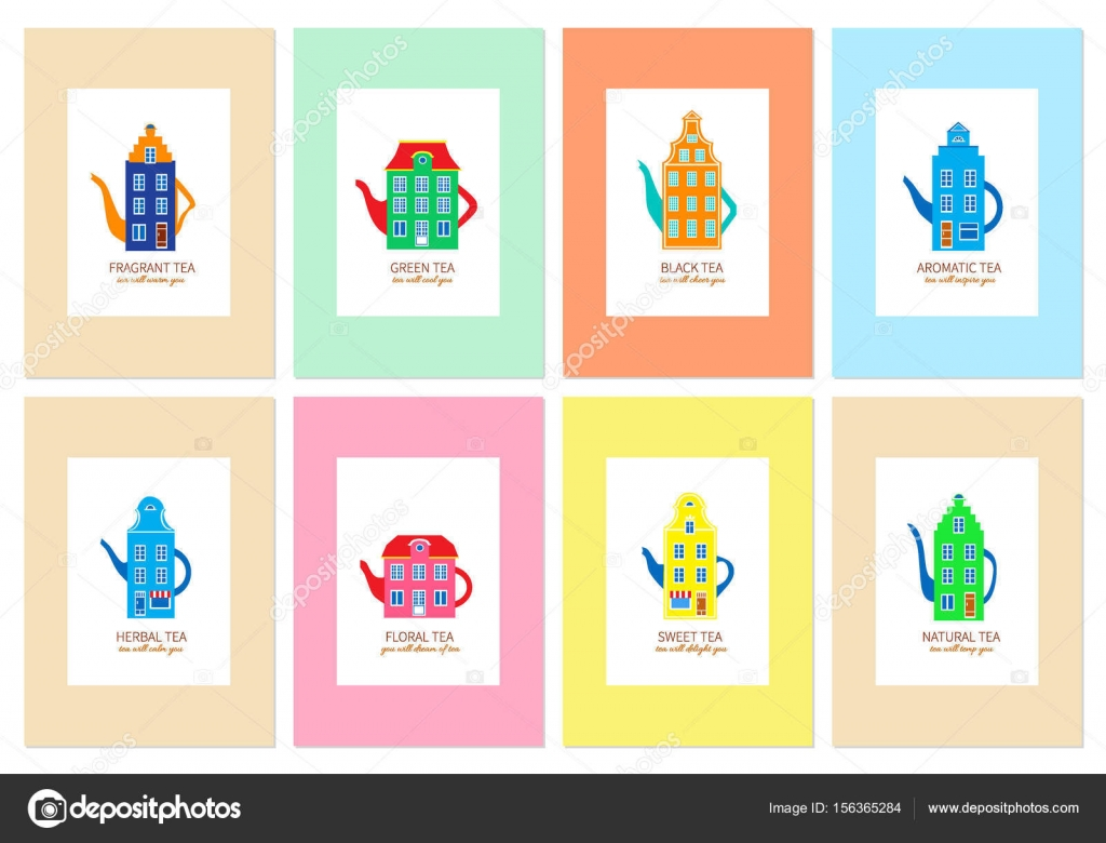 Conjunto de vectores de plantillas de envasado de té, sello, banner ...