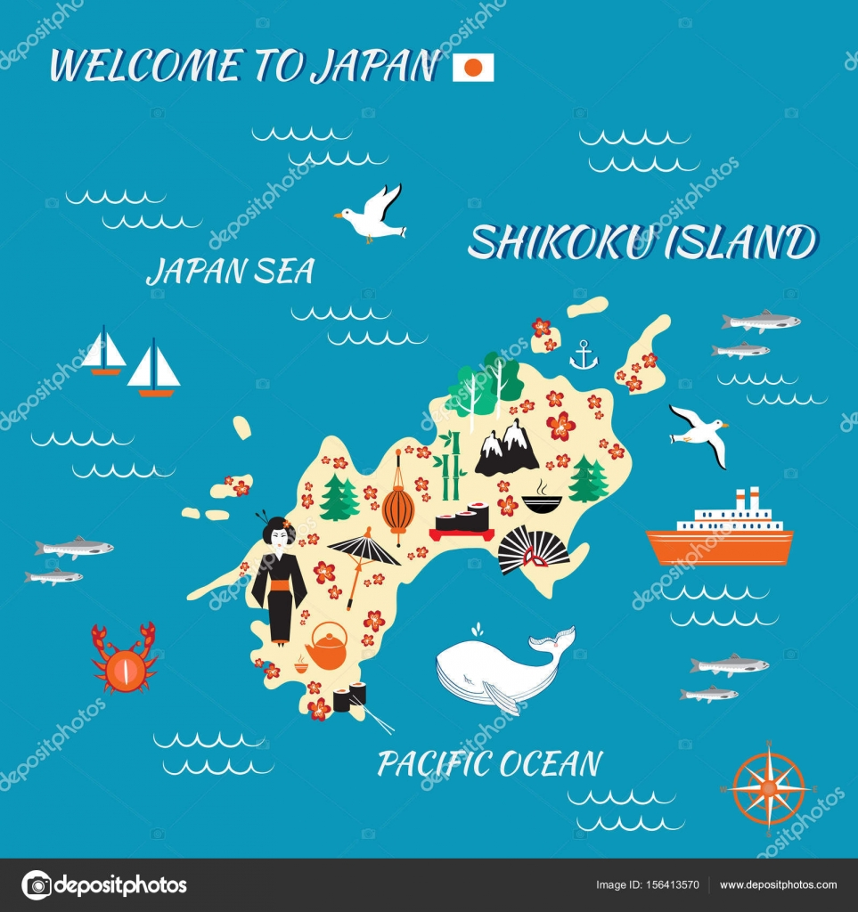 japan cartoon travel map vector illustration shikoku island