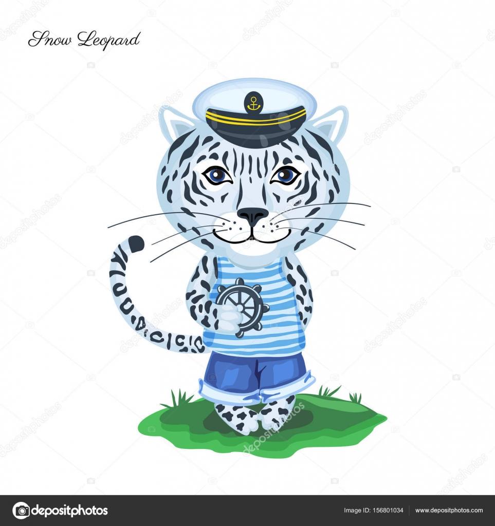 Snow leopard sjöman i kapten cap med ratten på grönt gräs ...