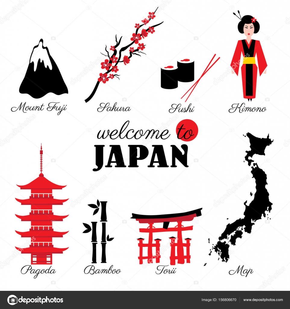 Japan landmark symbols set sushi mountain fuji branch sakura japan landmark symbols set sushi mountain fuji branch sakura flower kimono japanese pagoda bamboo torii cartoon map vector illustration travel icons biocorpaavc Gallery