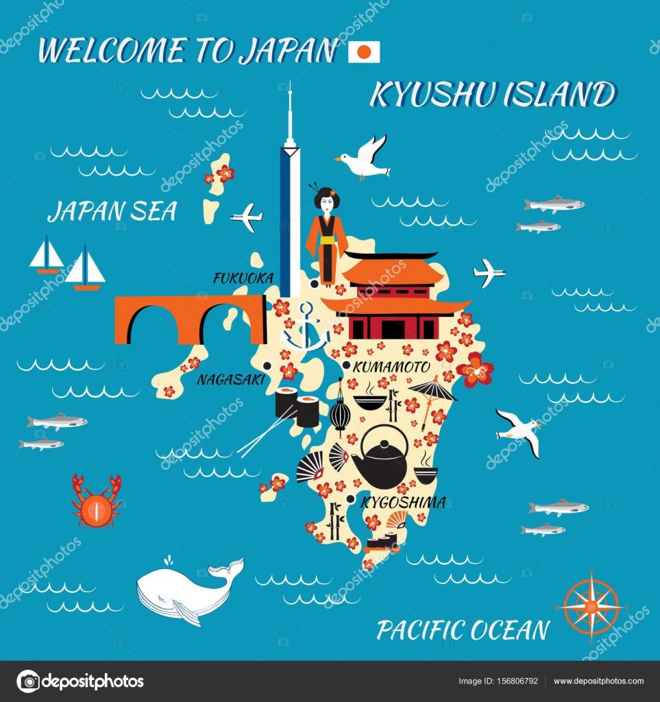 Japan Cartoon Travel Map Kyushu Island Vector Illustration - Japan map cartoon