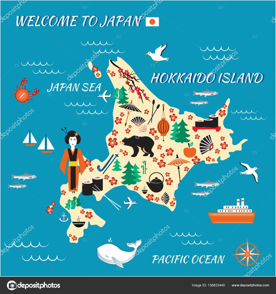 japan cartoon travel map vector illustration hokkaido island