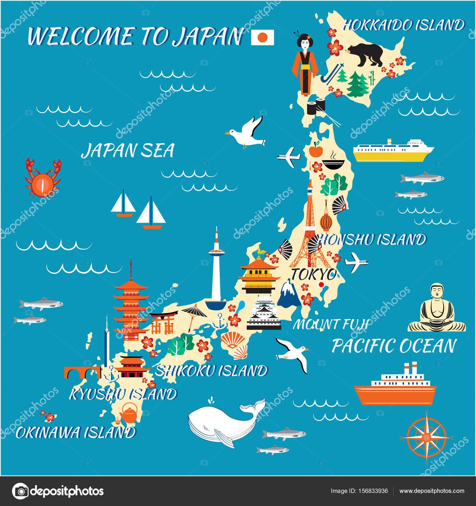 Japan cartoon travel map vector illustration landmark Kinkaku JI