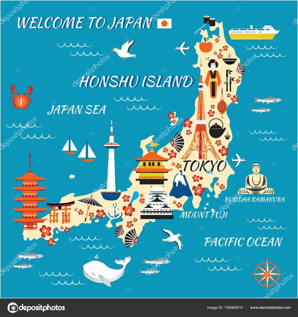 Japan cartoon travel map vector illustration Honshu island