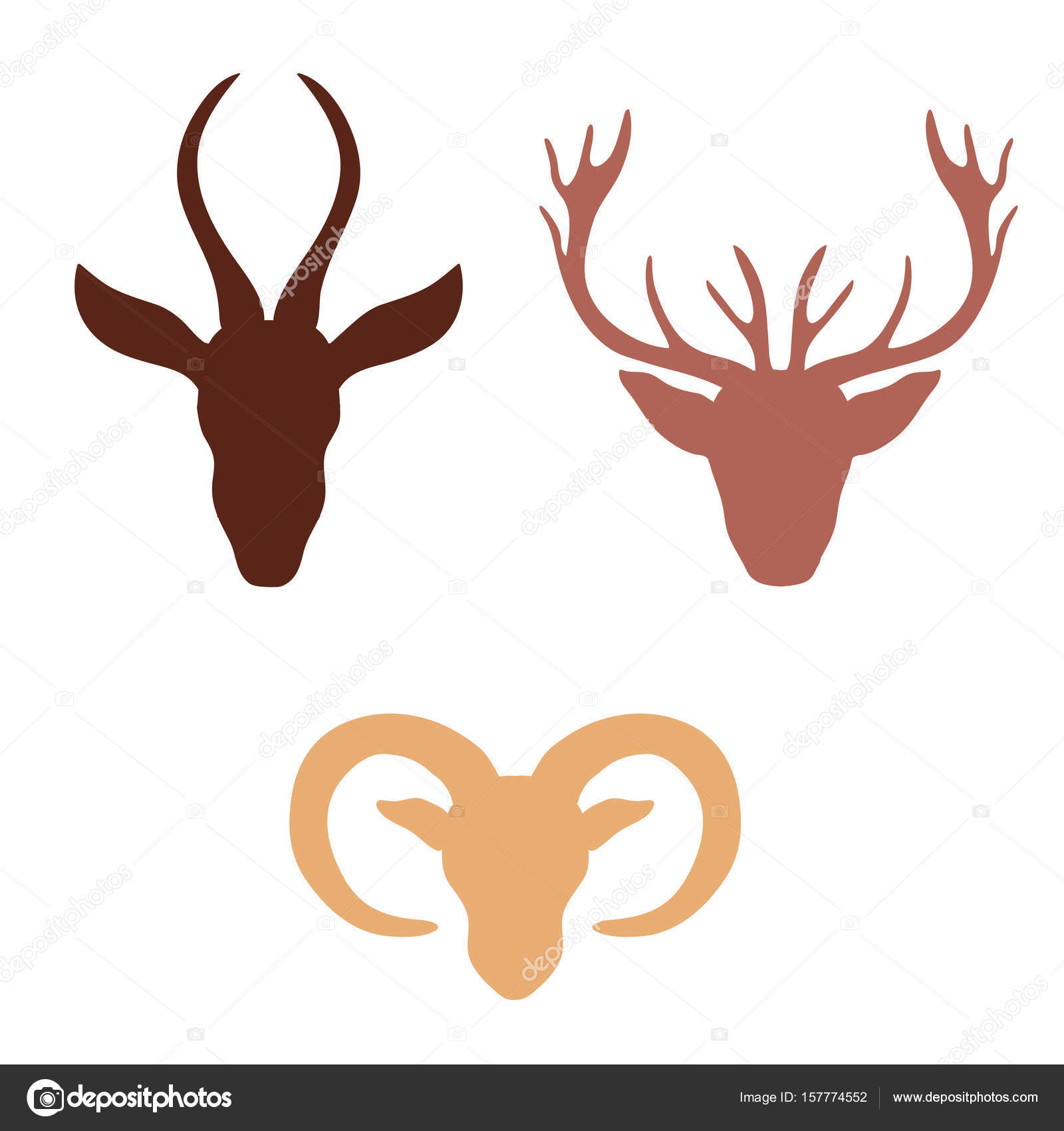 silhouette decorative gazelle deer ram vector cartoon doodle