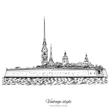 St. Petersburg landmark, Russia, Peter and Paul Fortress in St.Petersburg view from Neva river, Vector ink sketch hand drawn engraving illustration isolated on white background, vintage style line art