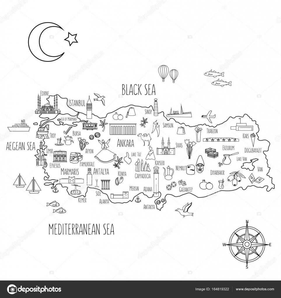Türkiye Karikatür Seyahat Harita Vektör çizim Simgesel Yapı Galata