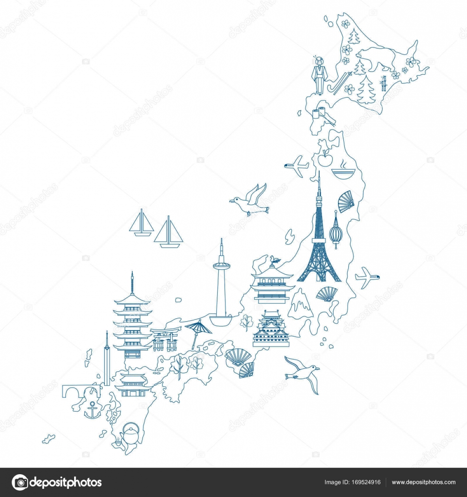 Japan Cartoon Travel Map Vector Illustration Landmark Kinkaku JI - Japan map sketch