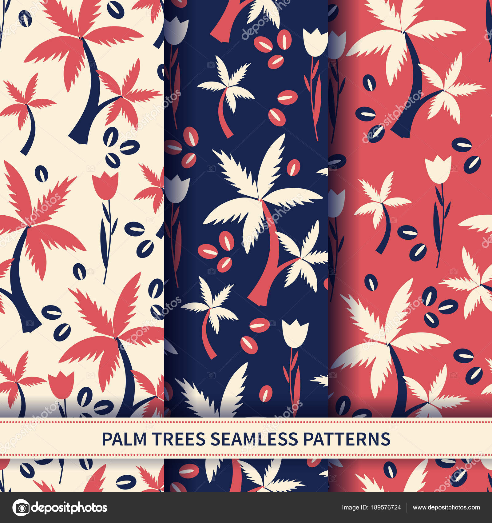 Seamless Floral Pattern Cartoon Vector Tropical Illustration Palm