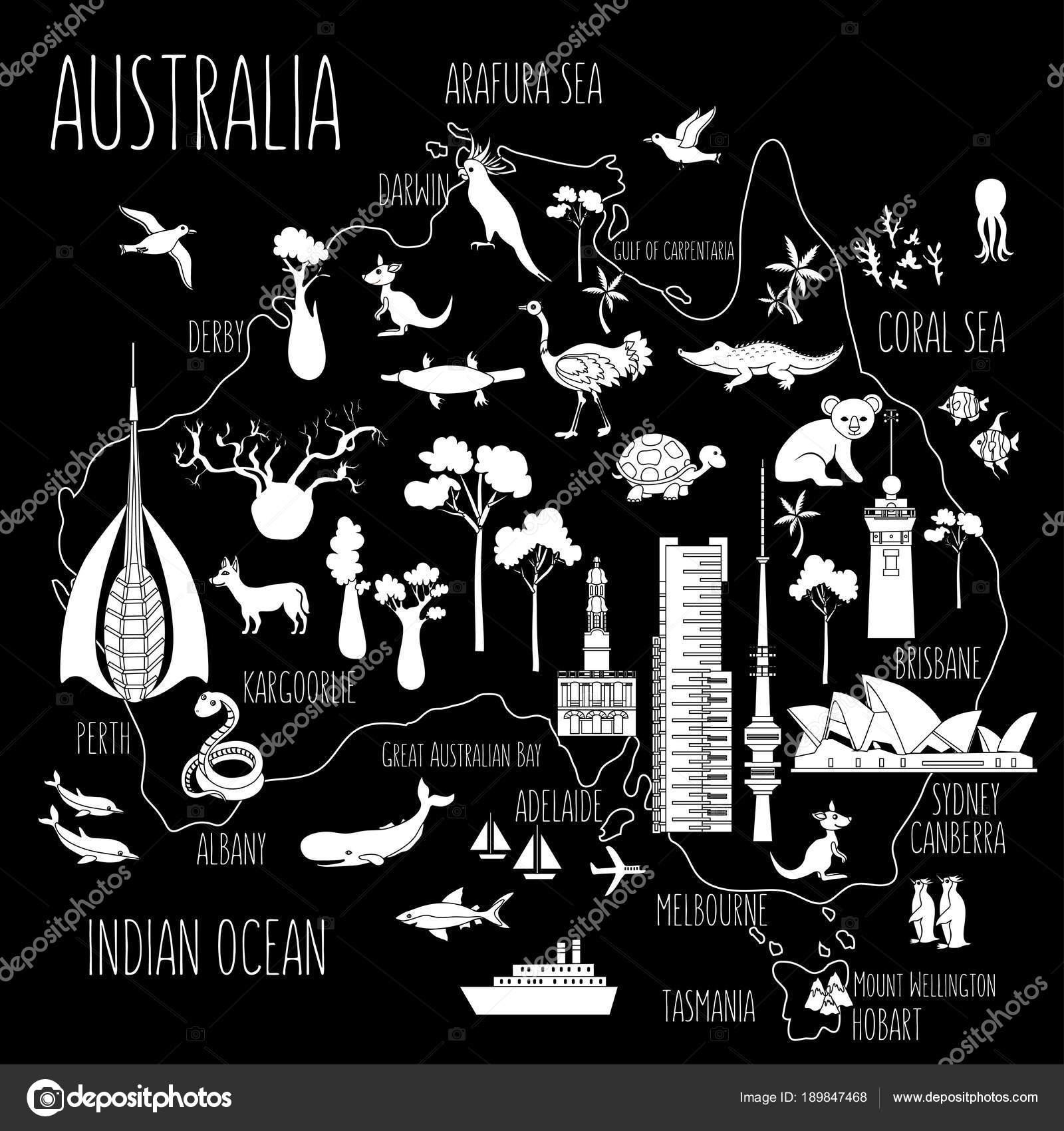 australia cartoon travel map vector illustrationlandmark telstra tower perth bell tower old