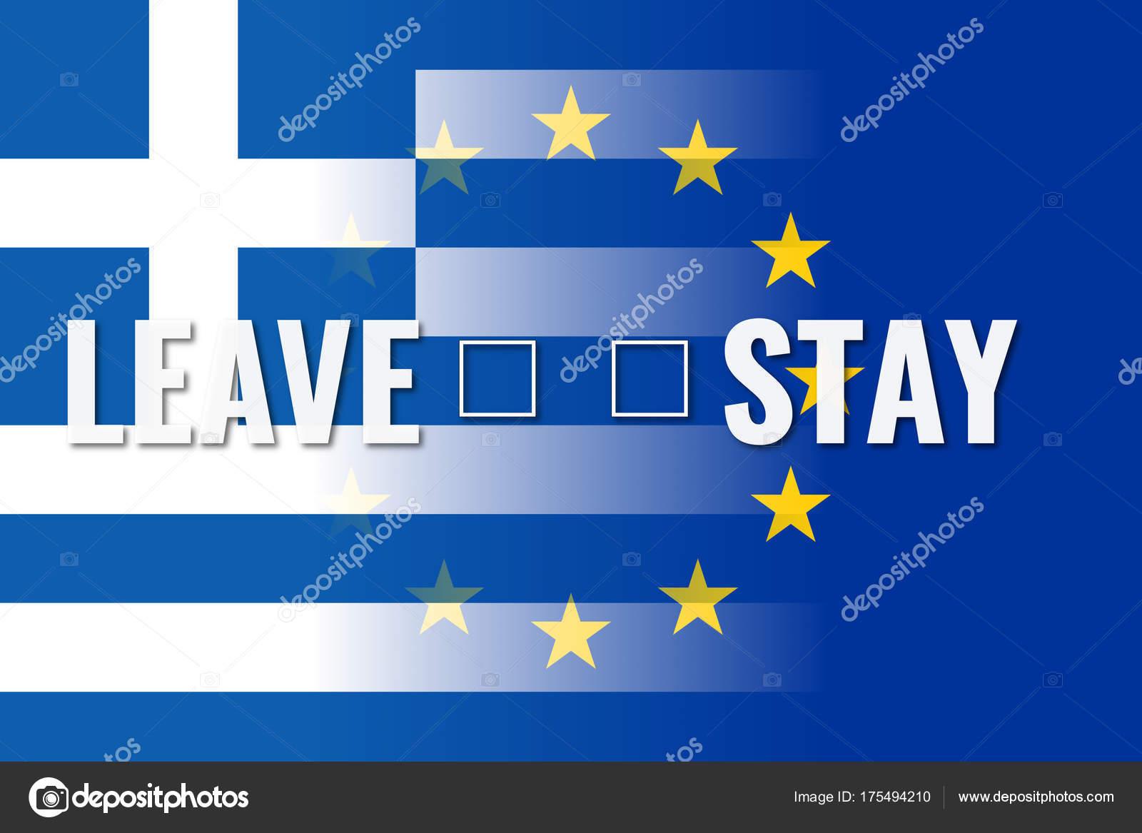 Grexit, Unione Europa e Grecia bandiere con scelta permesso ...