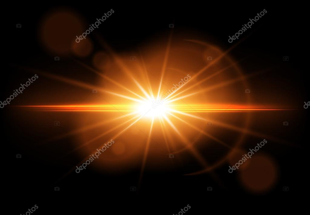 Golden Glowing Light Effect Lens Flare Sun Flash With Rays Vector Illustration