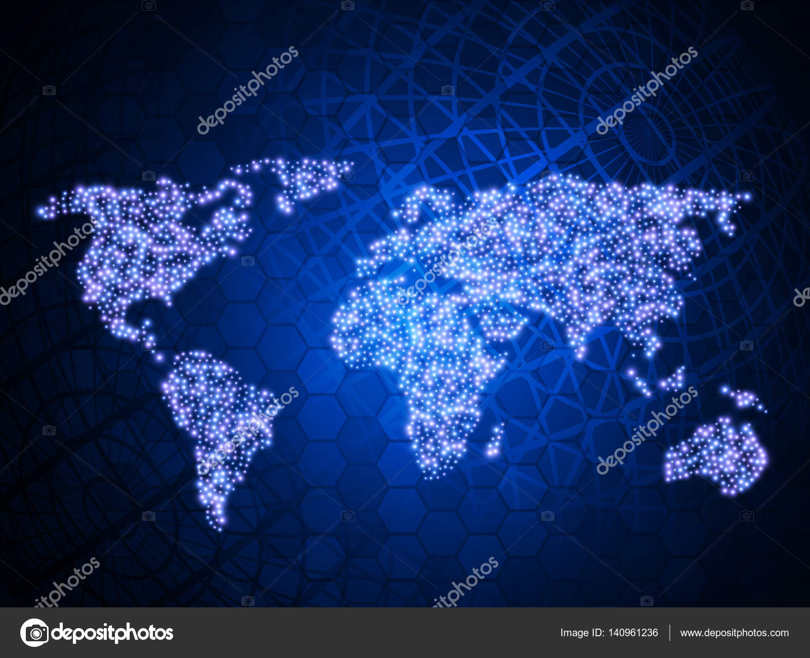 abstract technology background with world map vector template design stock vector