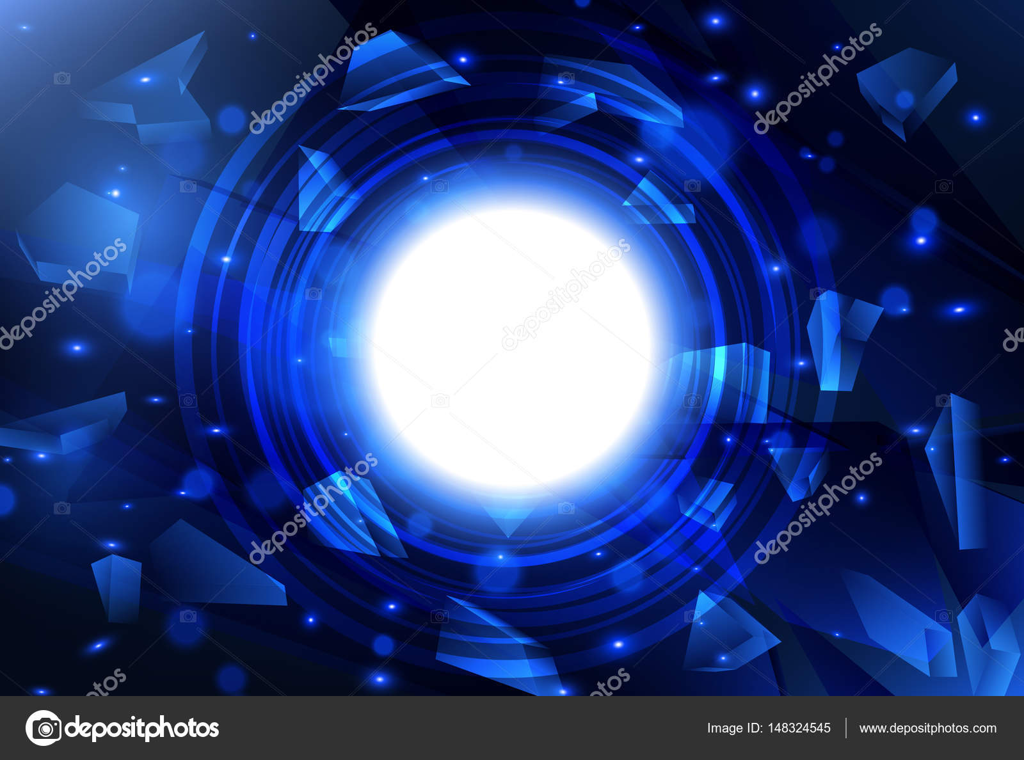 Explosión azul abstracto con vidrios rotos. Bandera de vector con ...
