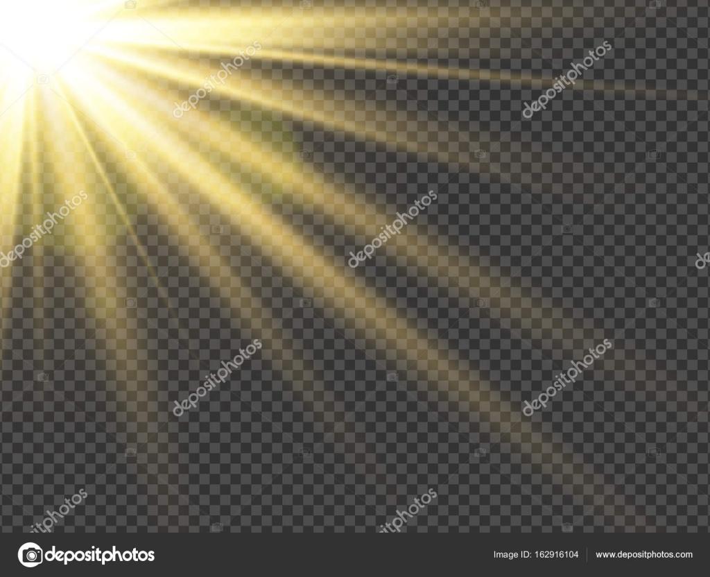 Sun Rays Lens Flare Transparent Light Effect Vector Illustration Stock