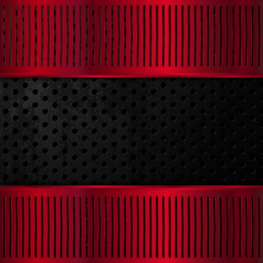 Black and red metallic background. Vector illustration