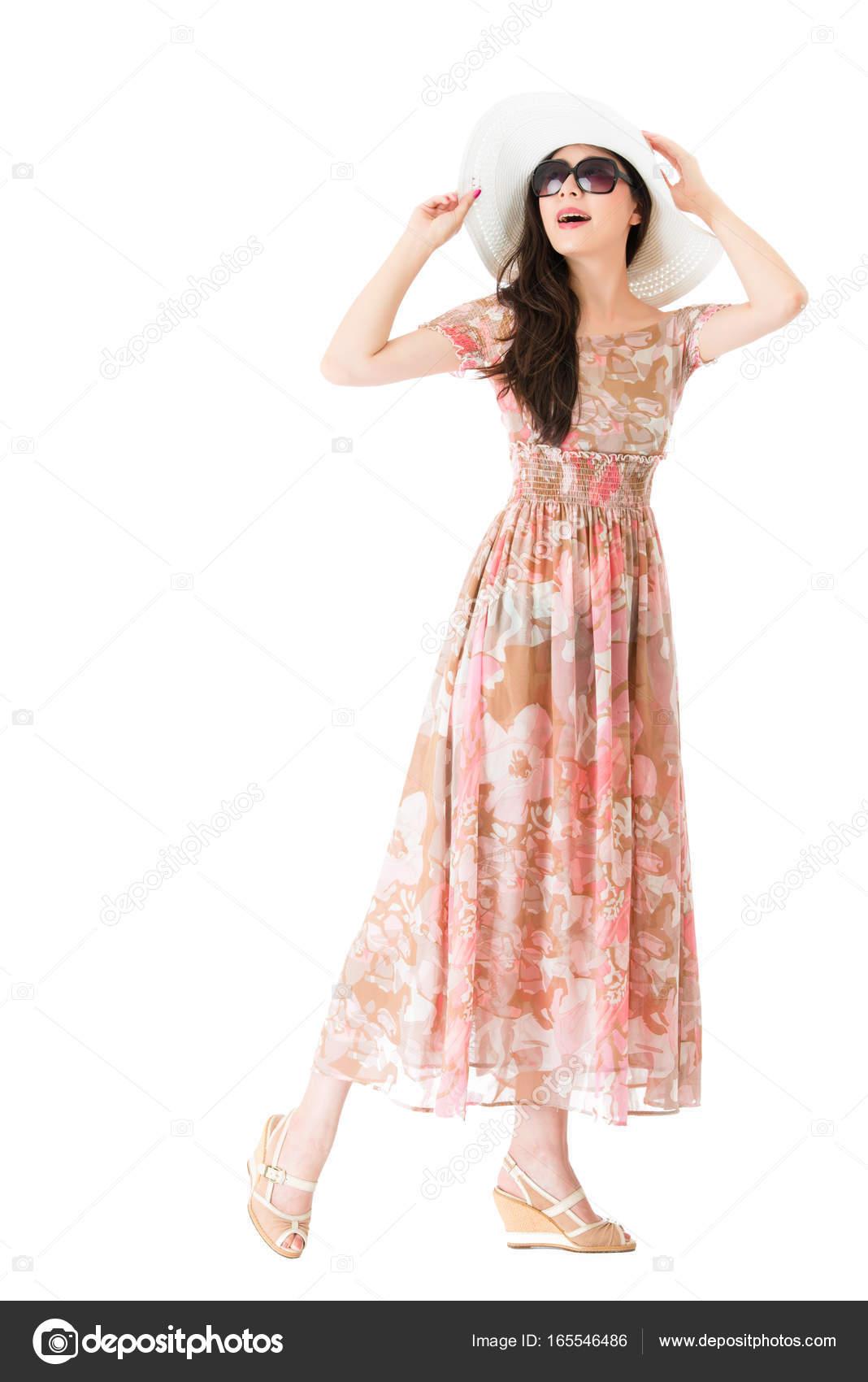 Zomer Kinderkleding.Elegantie Dragen Hoed Met Zomer Kinderkleding Jurk Stockfoto