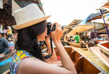 beautiful female traveler travel in Thailand