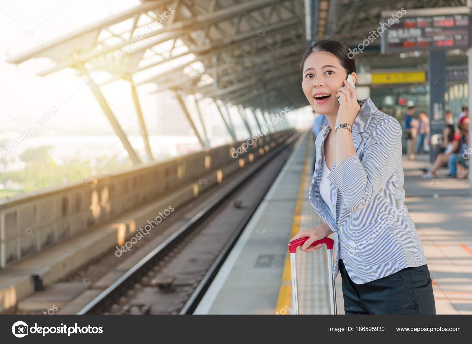 Happy Businesswoman Talking On The Phone Stock Photo