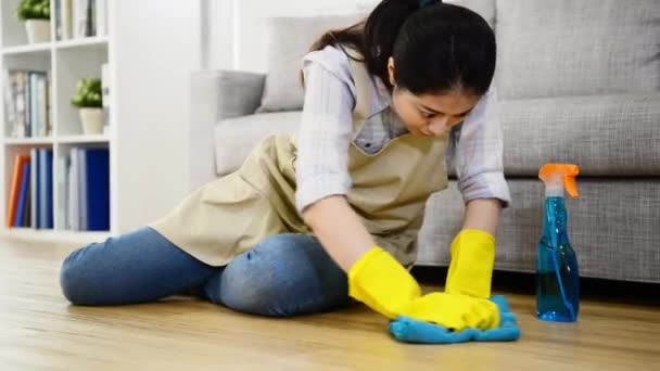 Housewife Scrub Hardly Cleaning Floor