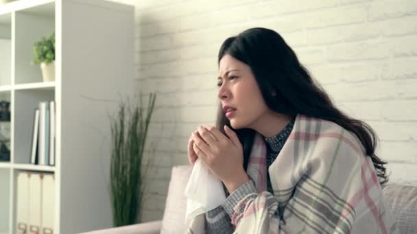 Sickness asian woman caught flu feel suffering with sneeze, environmental pollution effects or seasonal allergies in winter and fall.