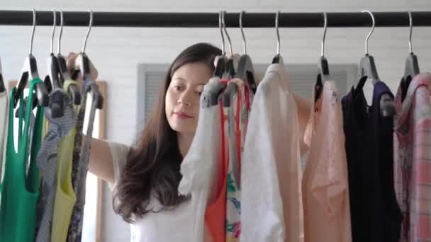Fast Quick Forward Young Asian Woman Selecting Clothes Thinking ...