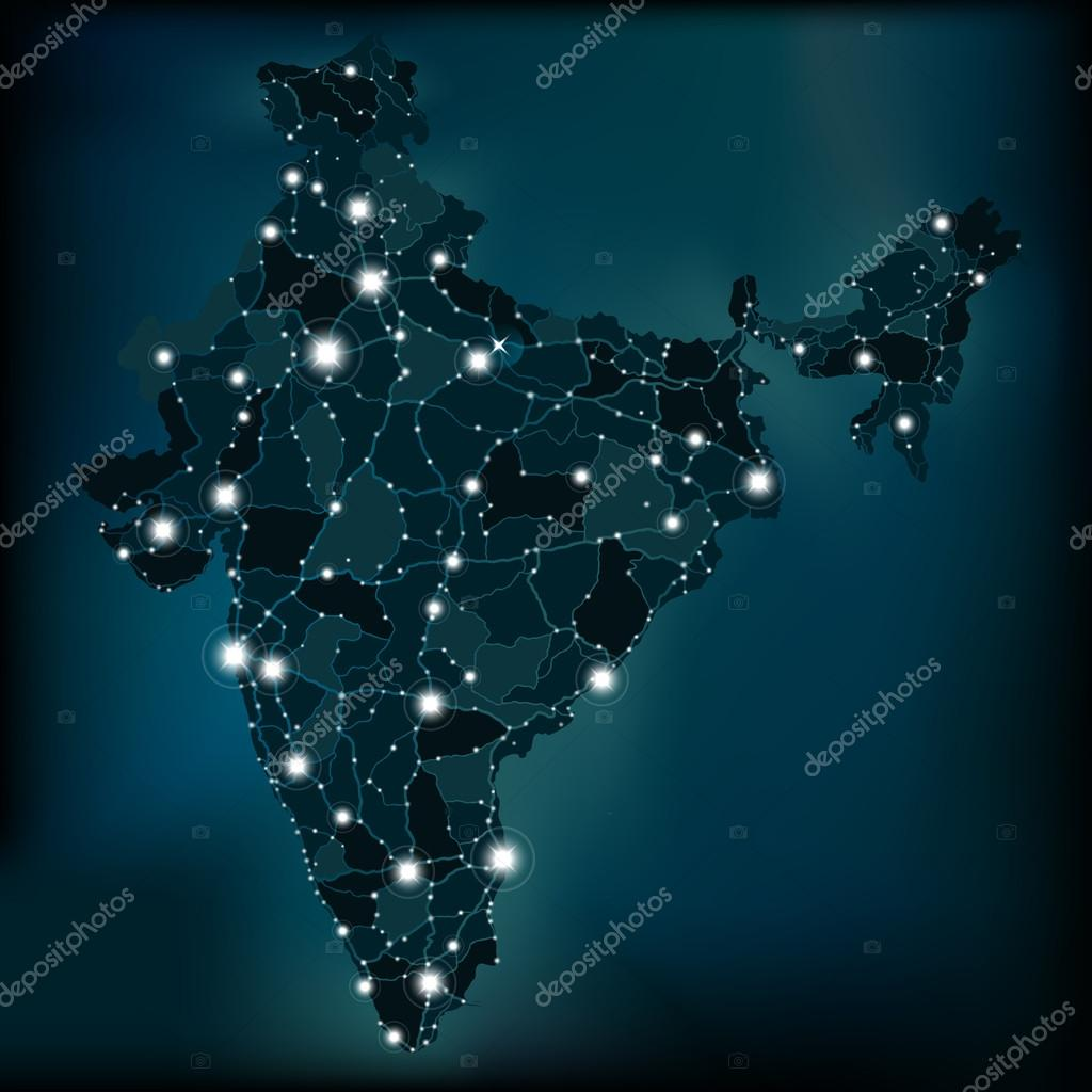 Political night map of india with lights stock vector slinska political night lights map of india with main cities and roads vector by slinska gumiabroncs Images