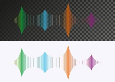 Abstract colored sound wave vector design elements on transparent and white background