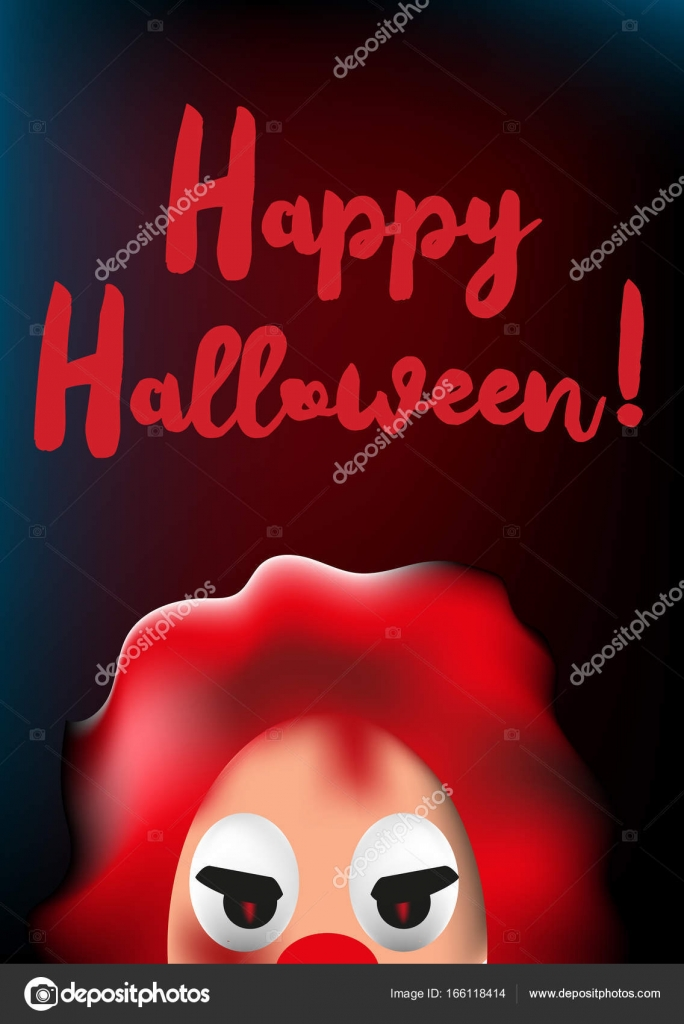 happy halloween poster with scary clown mask u2014 stock vector