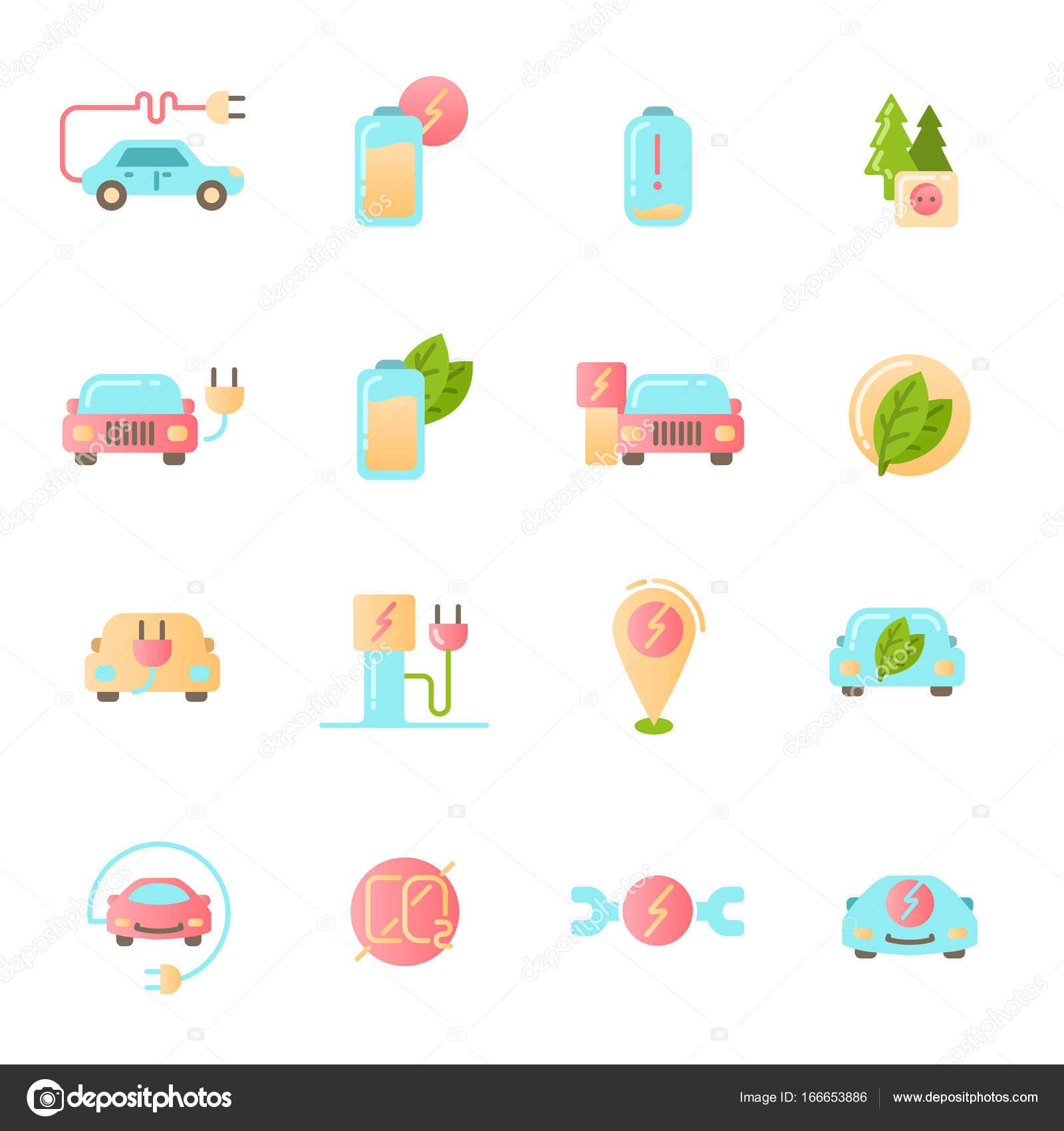Electric Car icons set. Colored material design signs. — Stock ...