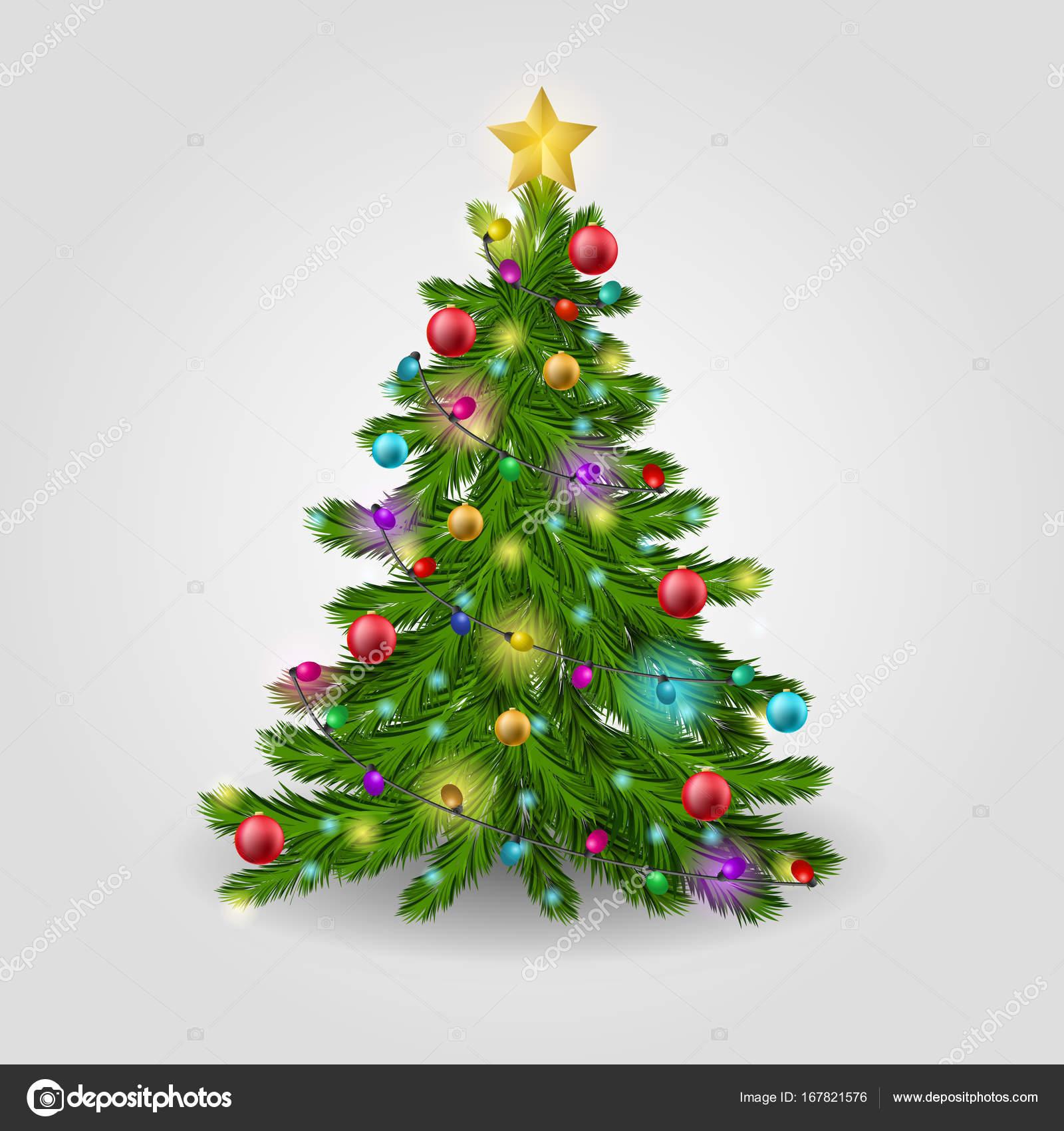 Der Weihnachtsbaum.Der Weihnachtsbaum Ist Geschmückt Mit Bunten Kugeln Eine Girlande