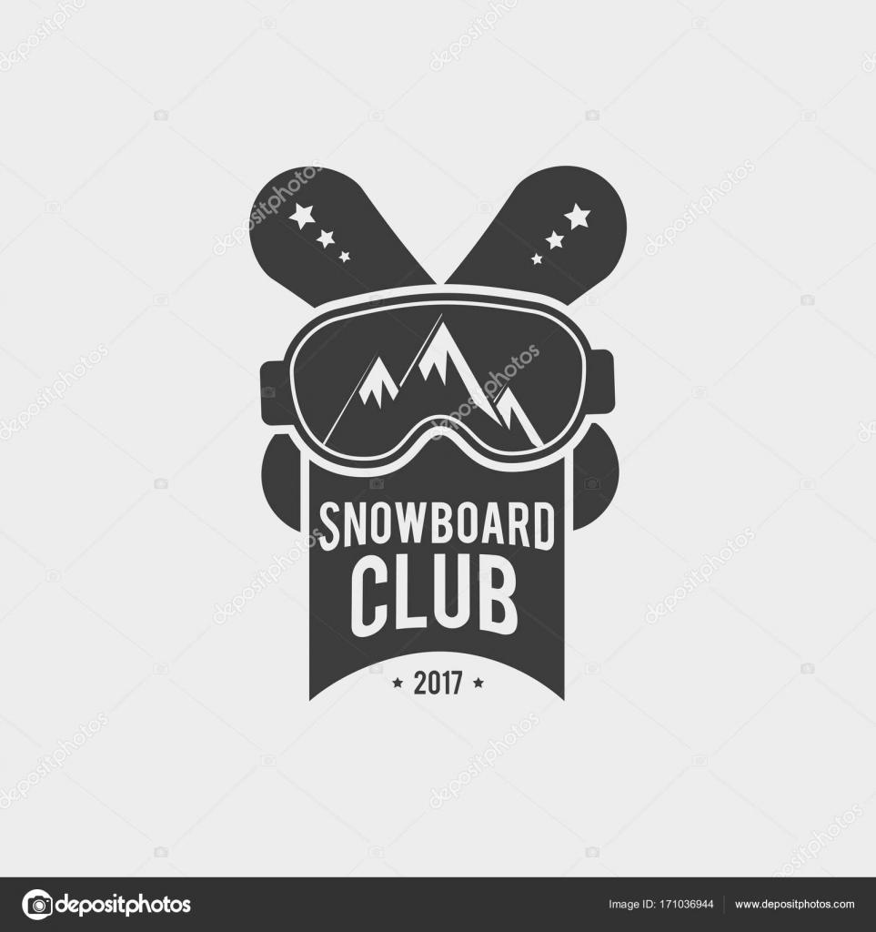 Snowboard Club Logo, Label oder Abzeichen Vorlage. Vektor-Symbol ...
