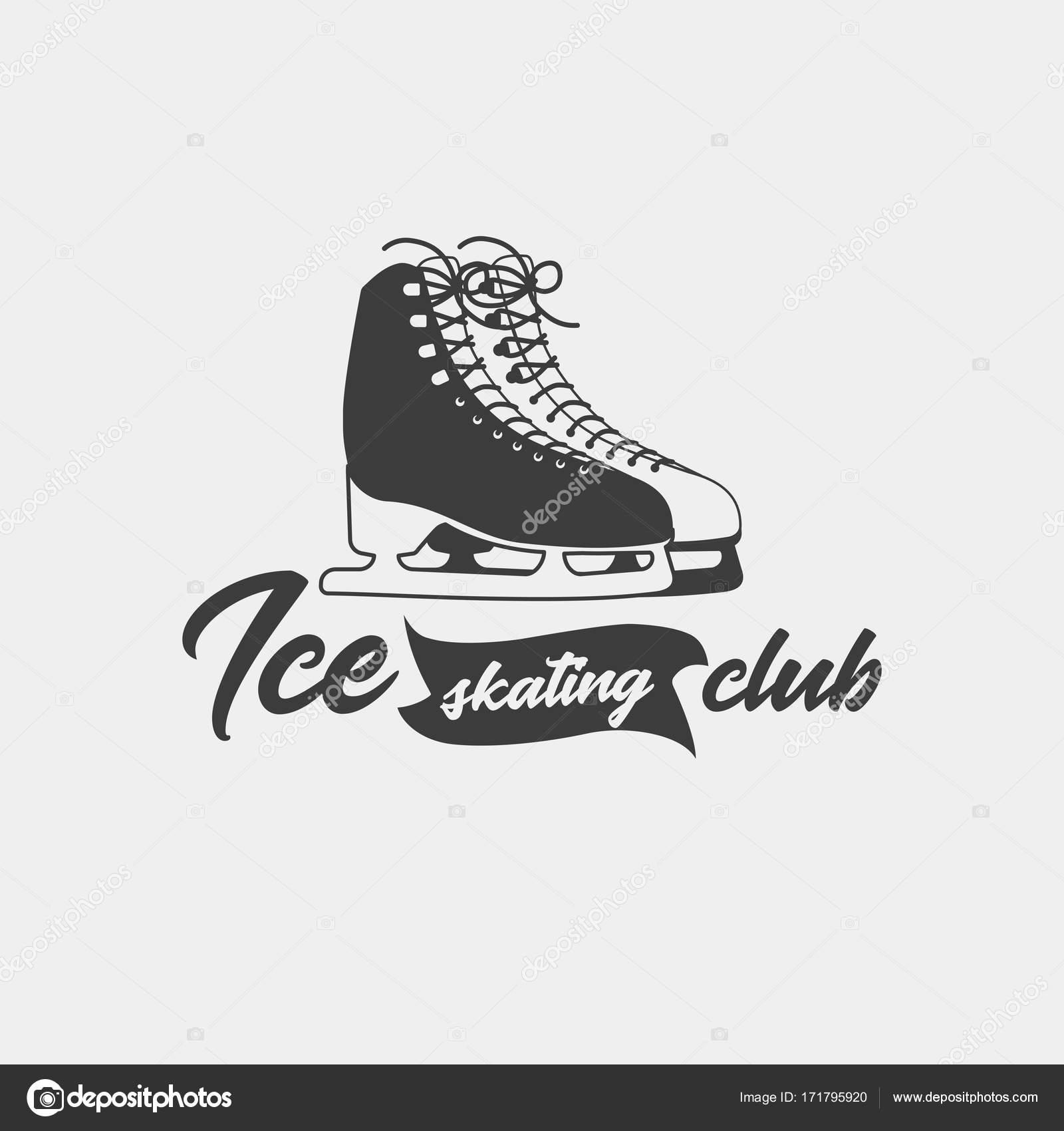 Plantilla de insignia para el club de patinaje sobre hielo — Archivo ...