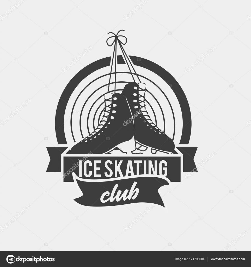 Logo con un par de patines de hielo atado — Archivo Imágenes ...