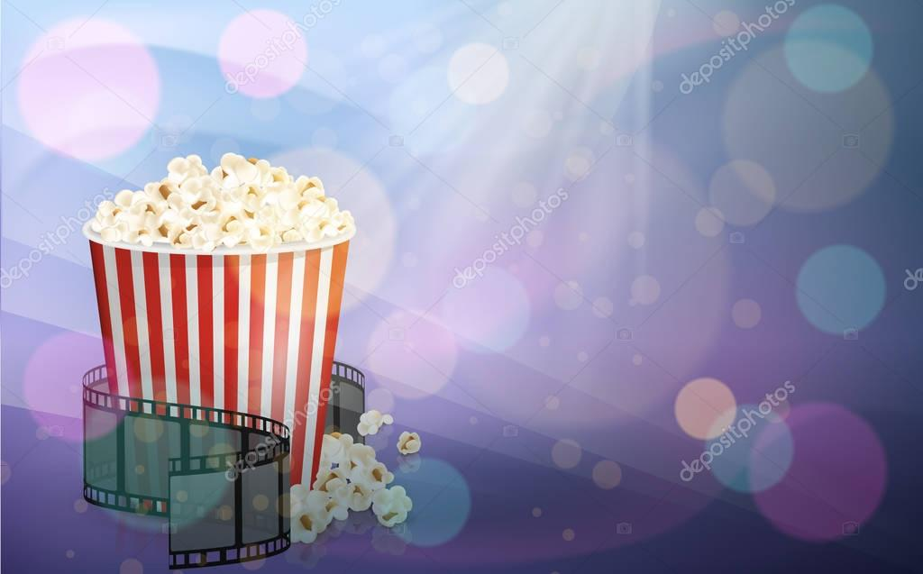 Filmstrip Rolled Around A Full Red And White Stripped Bucket Of Popcorn Purple And Pink Abstract Background Vector Illustration Cinema Snack And Movie Food Premium Vector In Adobe Illustrator Ai Ai