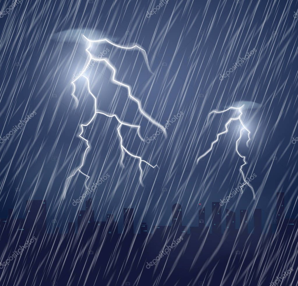 Two lightning flashes and raindrops in the dark sky.