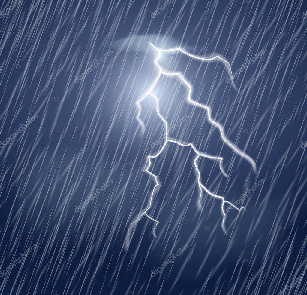 Lightning flash and heavy rain in the dark sky.