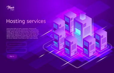 Web hosting and data center isometric vector illustration. Concept of big data processing, server room rack,