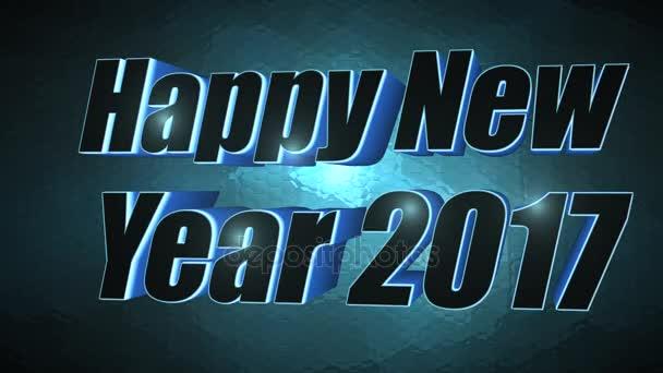 Šťastný nový rok 2017-3d modrý Text