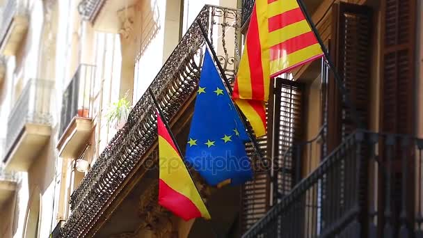 Flags Of European Union And Catalonia