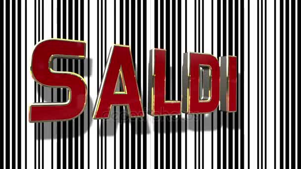 Italian Sale 3D Looping Animation With Barcode Abstract Line Background