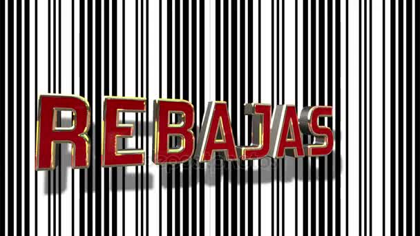 Spanish Sale 3D Looping Animation With Barcode Abstract Line Background