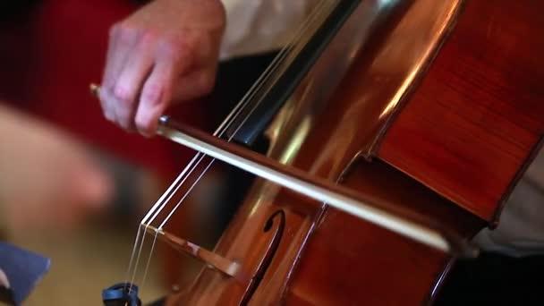 Muž ruka hraje Violoncello s violoncello luk. Detailní záběr z mužských rukou hraje violoncello s violoncello luk. Klasický orchestr hudebník