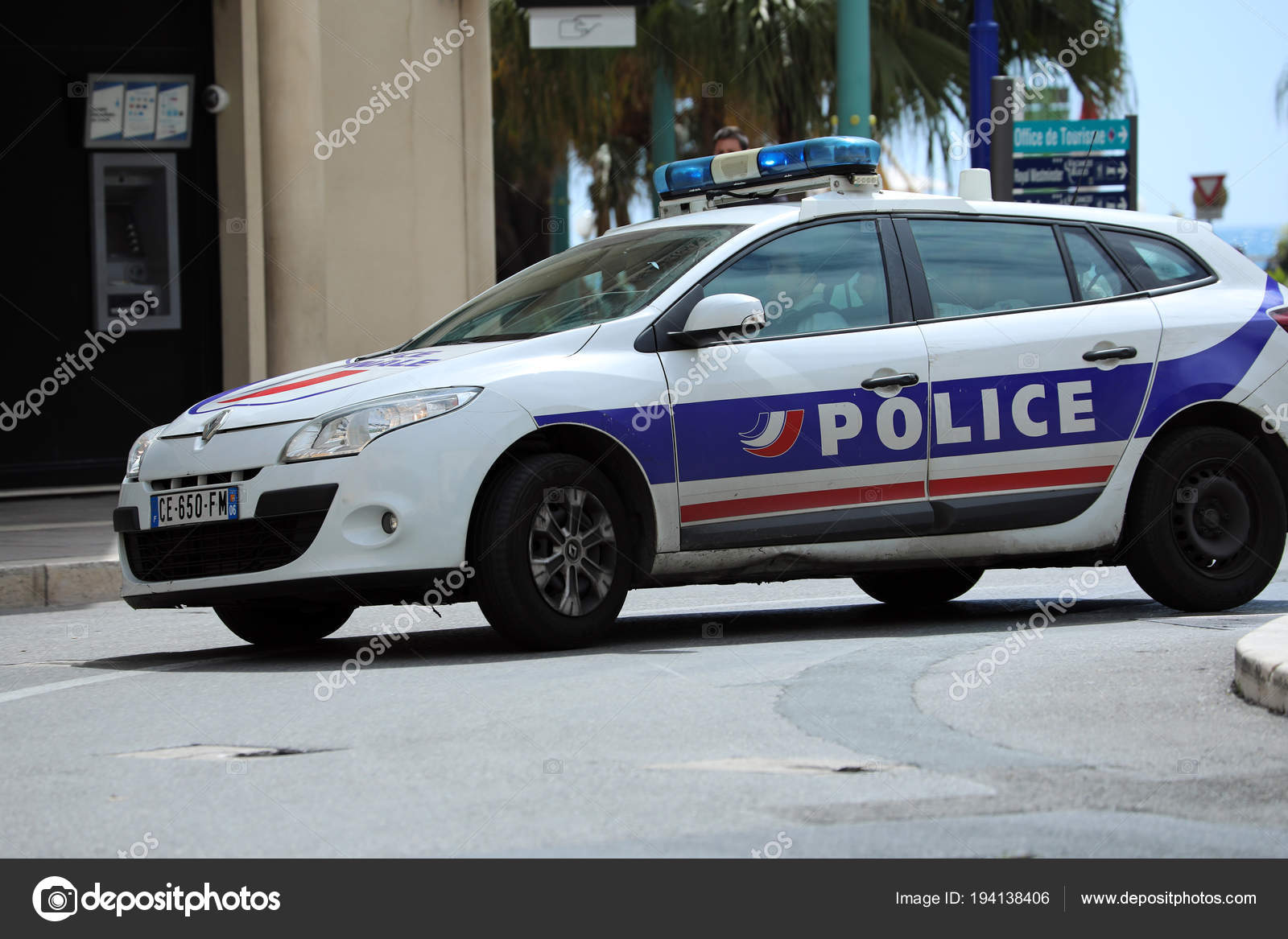 French Police Car Driving Fast In The City Center Stock Editorial
