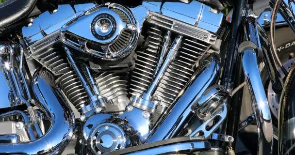 Menton, Francie - 12. ledna 2020: Detail kamery Harley-Davidson Twin Cam Screamin Eagle 110 Engine, Motorcycle Parked In The Street, Francie, Francouzská riviéra, Evropa. Pohled zblízka - rozlišení Dci 4k